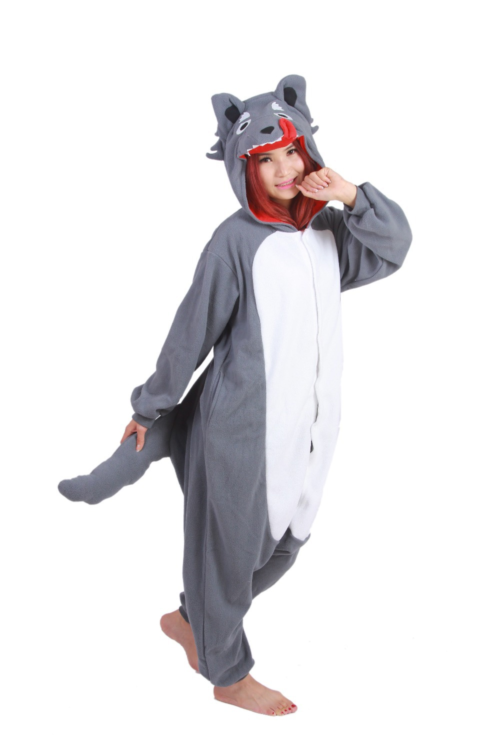 2016 gray grey wolf winter unisex adult pajamas cosplay costume animal onesie sleepwear halloween costumes pyjamas - Halloween Costumes Wolf