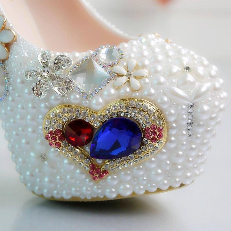 Дизайнерская обувь; женские туфли лодочки; женские пикантные туфли со стразами; белые женские свадебные туфли на высоком каблуке с цветочным узором - 2