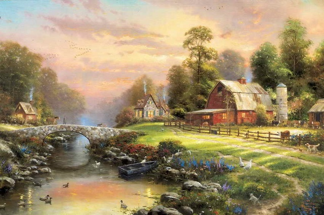 Sunset At Riverbend Farm Thomas Kinkade HD Canvas Print Living Room Bedroom  Wall Pictures Art Painting