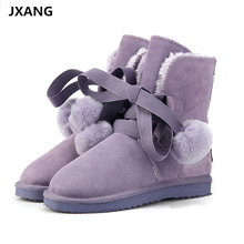 JXANG Top Quality Fashion Women Snow Boots Genuine Cowhide Leather Boots Warm Winter Boots Women Lace Up Boots US 3-13 miyagina top quality new fashion genuine sheepskin leather snow boots 100