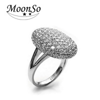 SoLove Real 925 Sterling Silver Ring Engagement Diamond Women Delicate Round And Elegant LR103