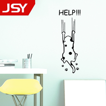 цена на Cartoon Help Cat Wall stickers Child Kitchen Cabinet Furniture Glass Decals Home Decoration