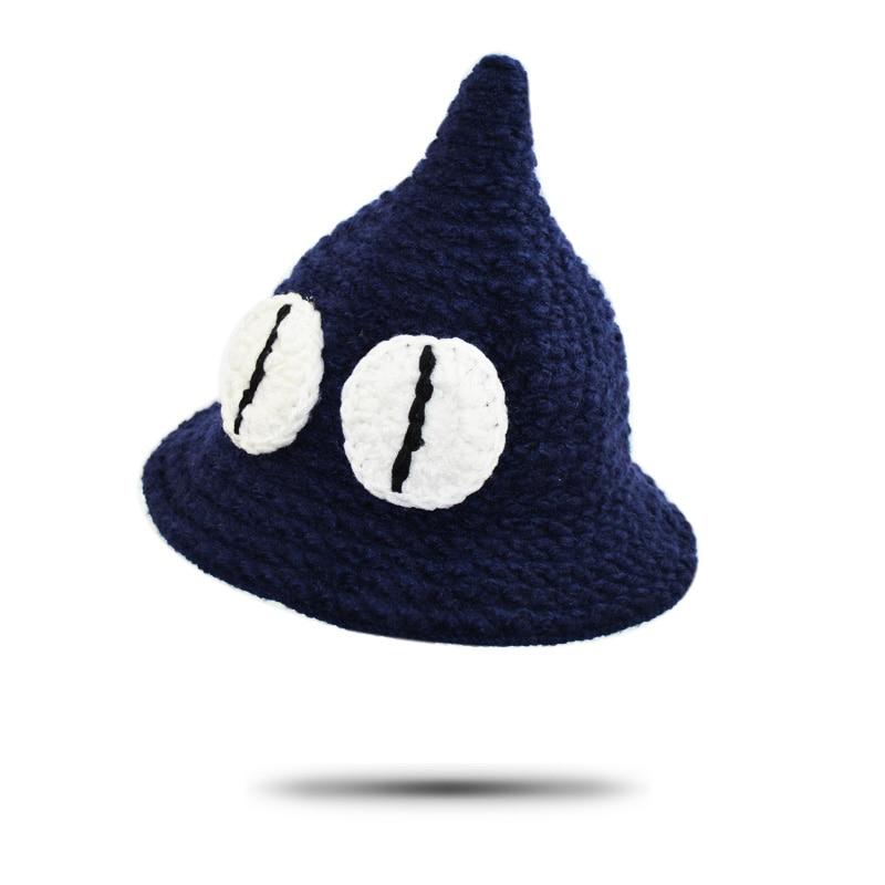 Sombrero del cubo del niño historieta del invierno grande Ojos punto ...