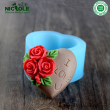 Valentines Day flower silicone soap mold Cake decoration Handmade chocolate heart shaped For Love