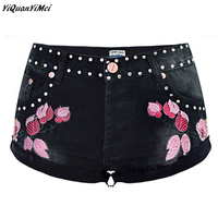 YiQuanYiMei fashion Embroidery Denim Shorts For Women Rivet Summer Casual Vintage Floral Short Jeans black Jean Shorts