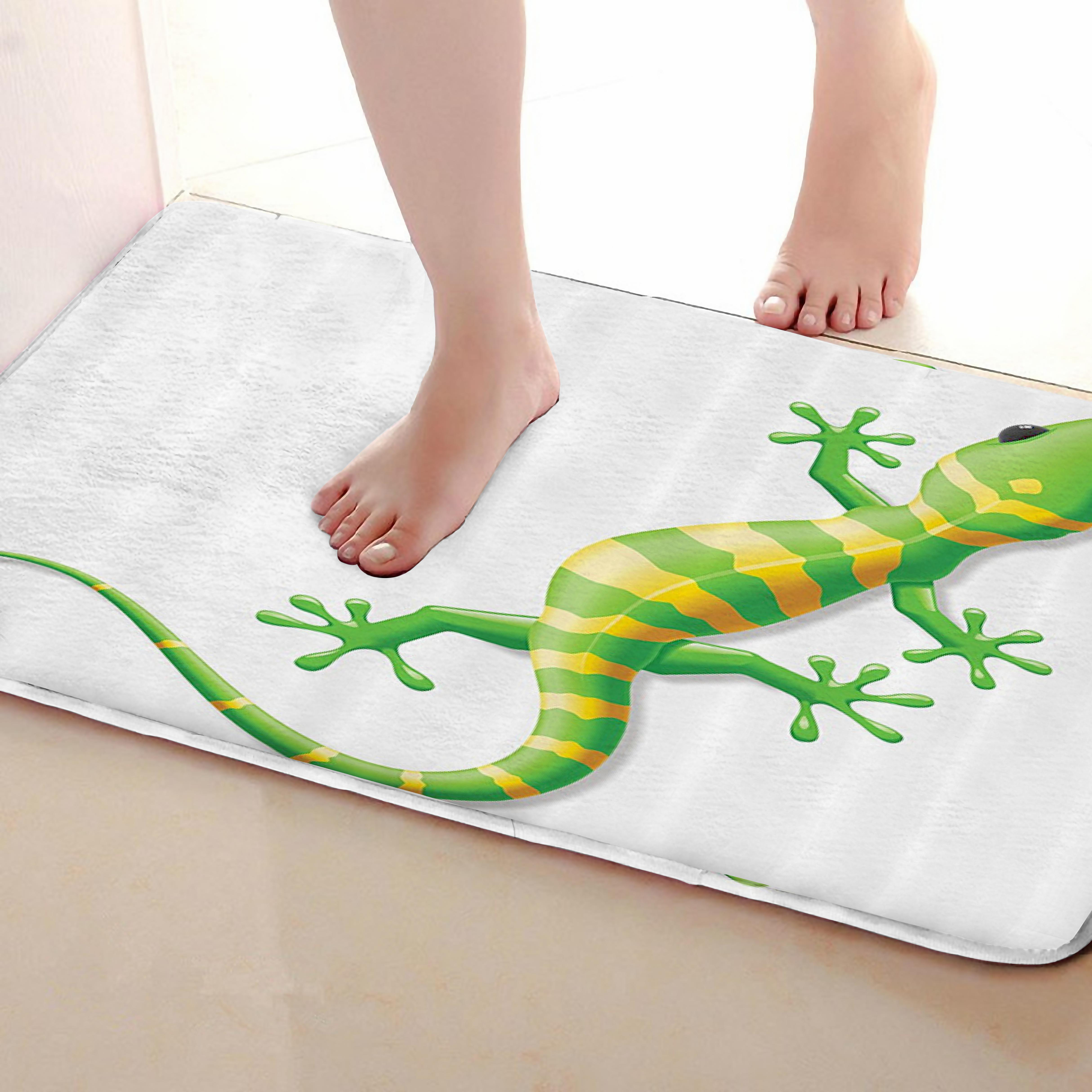 Chameleon Style Bathroom Mat,Funny Anti Skid Bath Mat,Shower Curtains Accessories,Matching Your Shower Curtain