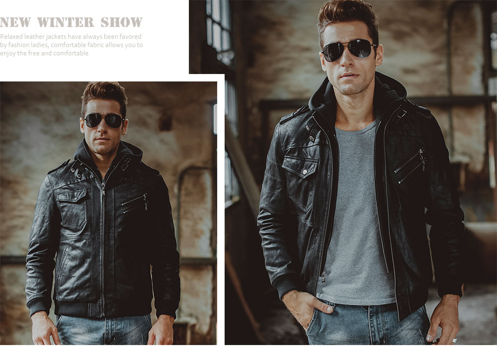 Men's Real Leather Jacket Removable Hood winter