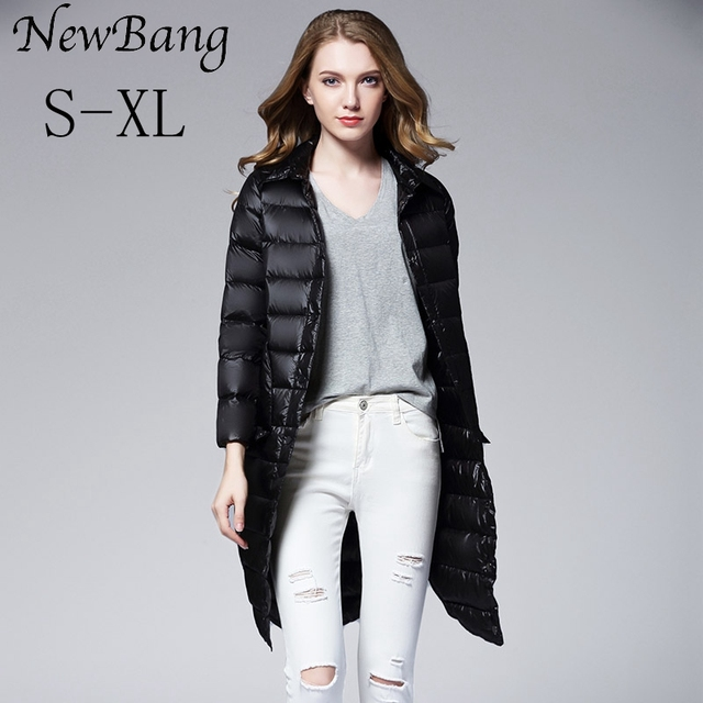 2016 Autumn And Winter Women Long Down Jacket Single Breasted Ultra Light Down Jackets Big Pocket Overcoats With Carry bag