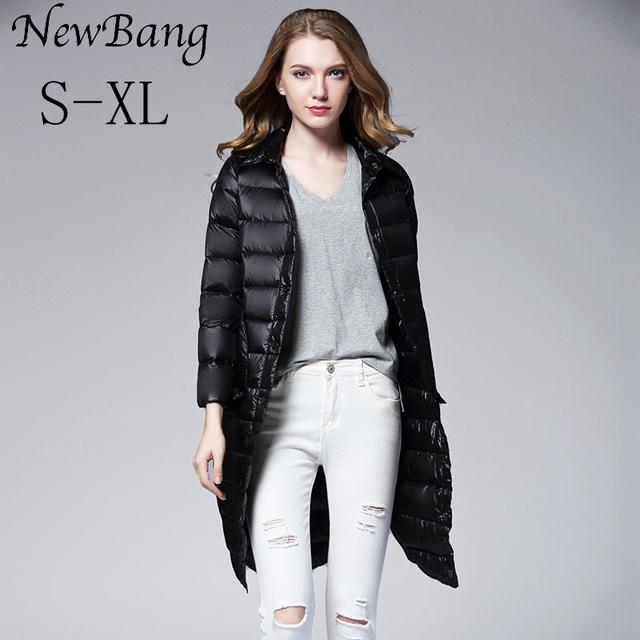 2016 Outono E Inverno As Mulheres Long Down Jacket Único Breasted Ultra Leve Para Baixo Casacos Sobretudos de Bolso Grande Com saco de Transporte