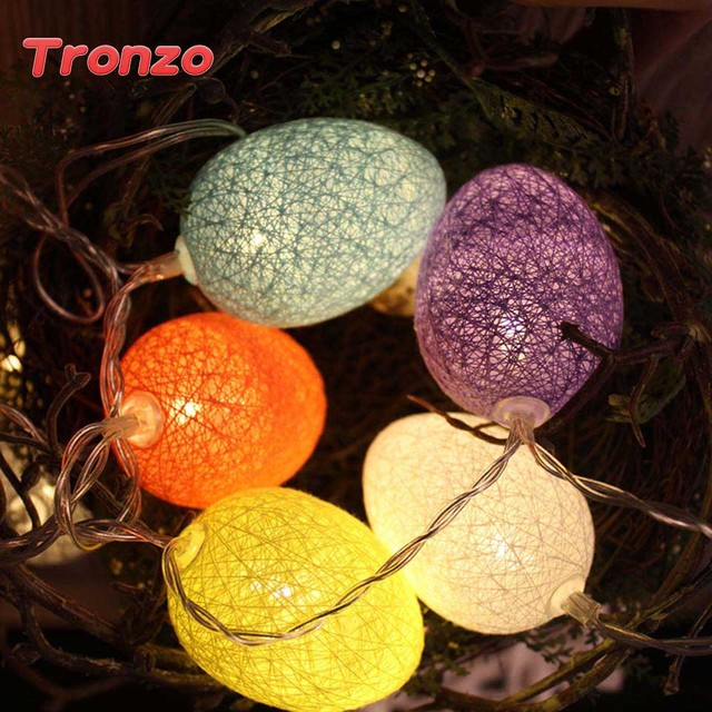 Tronzo Kolorowe Easter Egg Ciąg Światła Led 1.8 M 10 Lampy Światła Plastikowe Bawełna Baterii Dla Birthday Party Dekoracje Ślubne