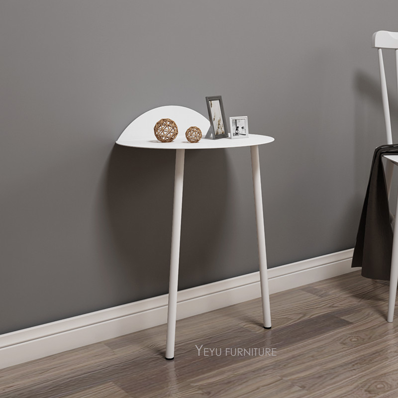 US $330.0 |Fashion Modern Design wall against Side Table, living room loft  style metal 2 legs wall against fashion End table Gate Table 2PC-in Coffee  ...