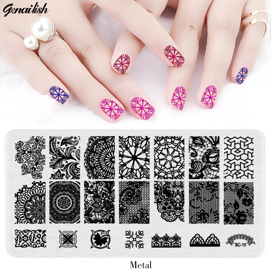 Sbc Nail Stamping Plates Stainless Steel Stencils For Nails Art Stamp Templates For Gel Nail