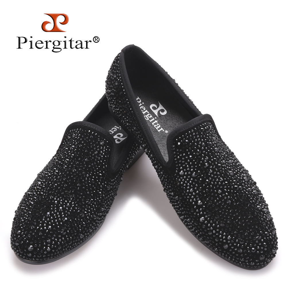 2017 New Suede Genuine Leather Men's Flats Men Black Crystal shoes men smoking slippers Prom and party male loafers Size 4-17 new design men black velvet loafers prom dress shoes smoking slippers party and wedding shoes casual men s flats size 7 13