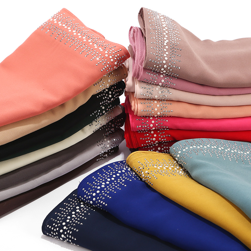 New Bubbles Chiffon   Scarf   With Diamond Women Muslim Solid Color hijab   Scarf   Female   Scarf   Shawl Bead   Wrap   Muslim Hijabs