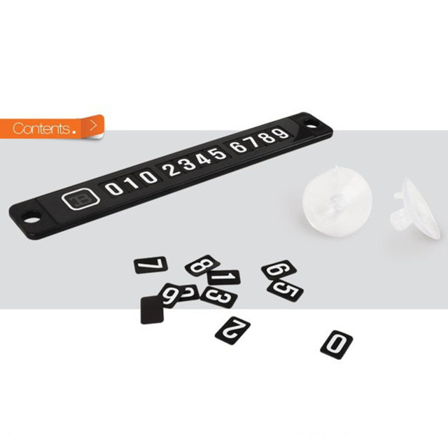 Magnetic phone number card plate sucker car sticker black plastic temporary car parking card