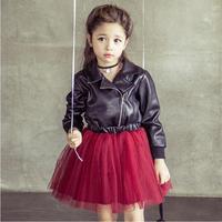 Hot Verkoop Kids Meisjes Lederen Tulle Lace pailletten decoratie Jurken Baby Girl Fall Winter Mode Jurk 2015 Koreaanse Stijl Jurk