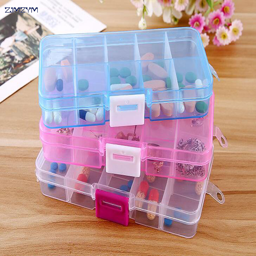 1PC New Multi-color 10 Slots Cells Portable Jewelry Tool Box Container Ring Electronic Parts Screw Beads Component Storage Box