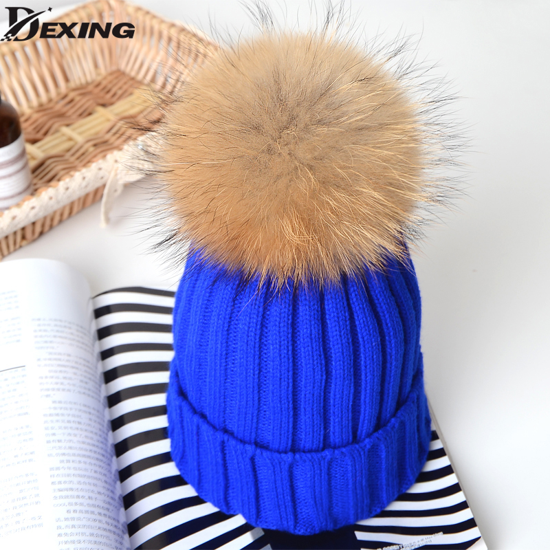 2017 1-6 Years  Real Fur Winter Hat Raccoon Pom Pom Hat For Children  Baby  Thick Boys Hat Girls Pink Caps Knitted Beanies Cap diamond raccoon fox fur pom pom beanite hat for girls 1 3 years boys baby beanies cap crochet beanies