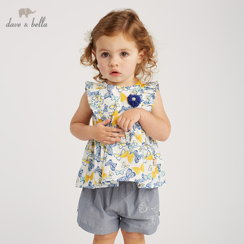 DBJ10120 Dave bella summer baby girl clothing sets butterfly floral children suits infant high quality clothes girls outfit-in Clothing Sets from Mother & Kids    1