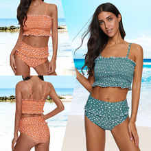 Ruffles High Waist Elastic Two Piece Swimsuit 2019 New Arrival Fashion Beach Bathing Suit Teenage Girls Sexy Bankini