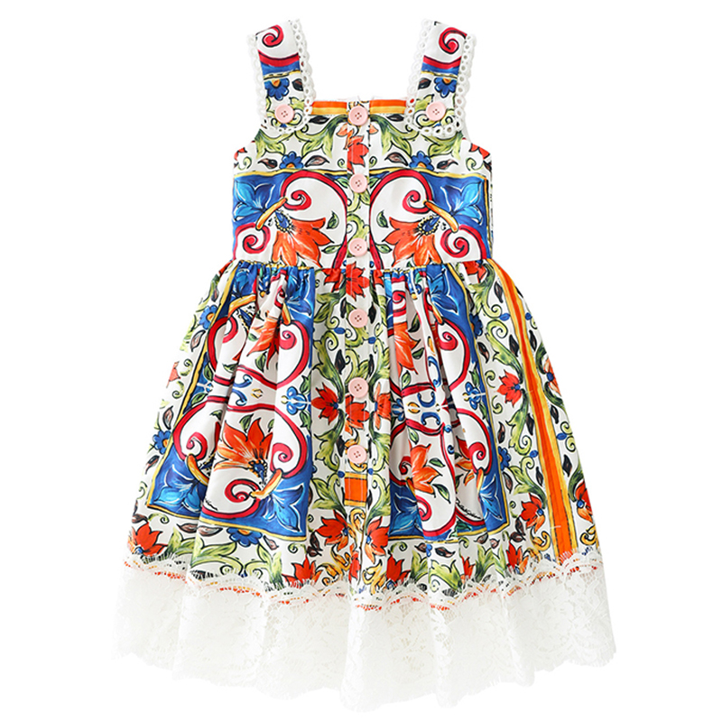 97cda7ad02262 3-10 Years Kids Dresses for Girls 2019 Fashion Girls Clothing Children  Sleeveless Bohemian Princess Dress for Party and Wedding