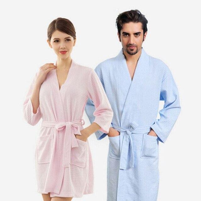 8e9a4f1006 Lovers Kimono Waffle Sleepwear Elegant Robe Femme Sexy Peignoir Women  Dressing Gown Men Navy Long Bathrobe