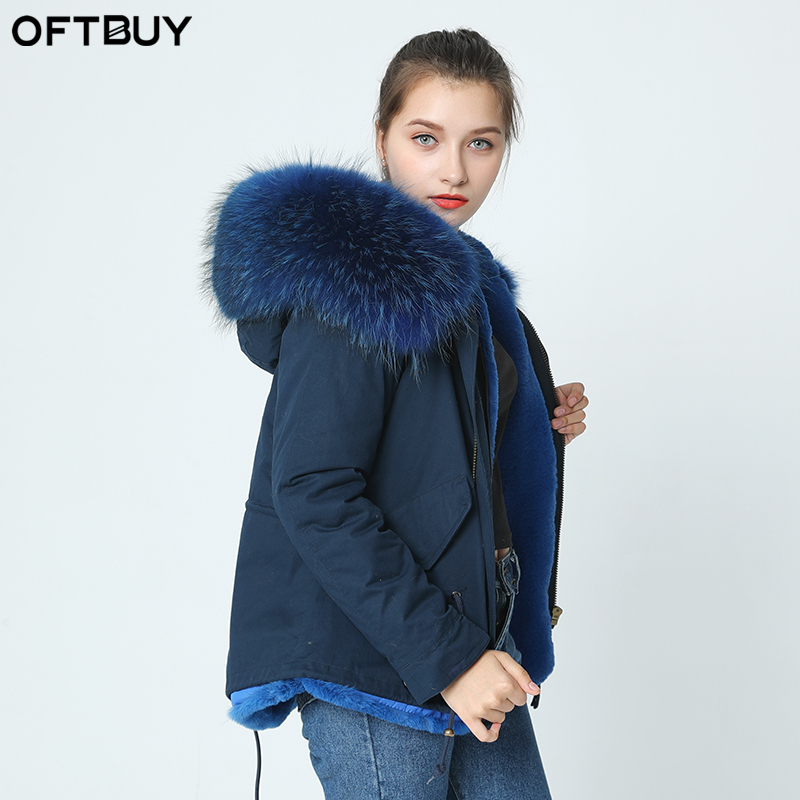 OFTBUY 2019 navy   parka   winter jacket coat women real fur coat   parkas   natural raccoon fur collar hooded warm soft faux fur liner