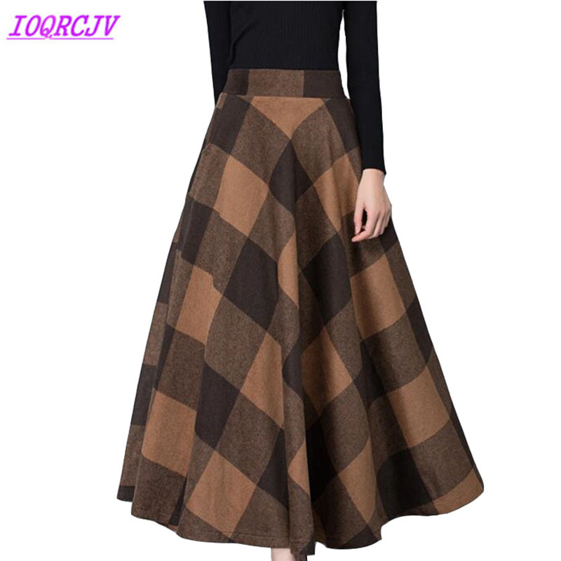 Plaid woolen skirt womens 2018 autumn winter thick High waist long skirt Plus size Slim Large
