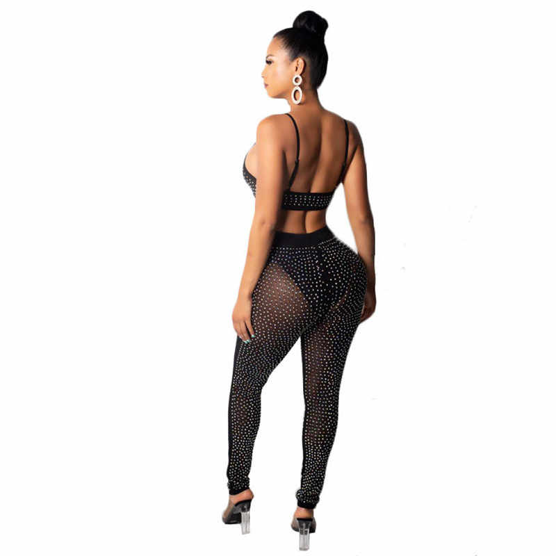 cf7203f1756 ... Sexy Sparkly Rhinestone Two Piece Sets Women Spaghetti Strap Strapless  Sheer Mesh Crop Top + Pants ...