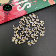 Leaf Copper Zircon Charms Crystal Gold Color Brass Earrings Charm Pendants DIY Jewelry Making Findings 21*9 mm 10 pcs