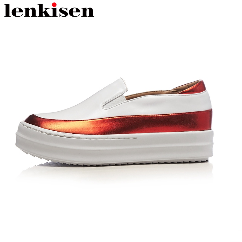 Lenkisen 2018 big size mixed colors round toe slip on platform causal shoes med heel increased runway women vulcanized shoes L66