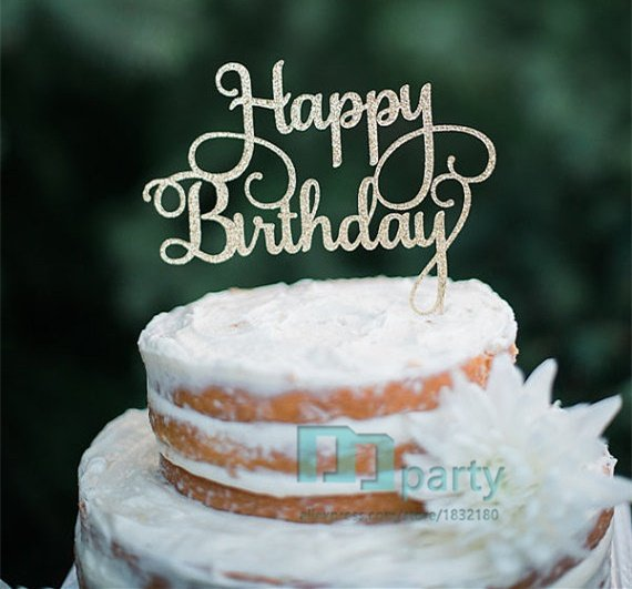 Online Shop 5 Colour Happy Birthday Cake Toppers Gold Glitter Cake