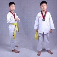 Daddy Chen White Fight WTF Taekwondo Uniforms Adult Kids Training Dobok Taekwondo Karate Clothes Suits Sportswear