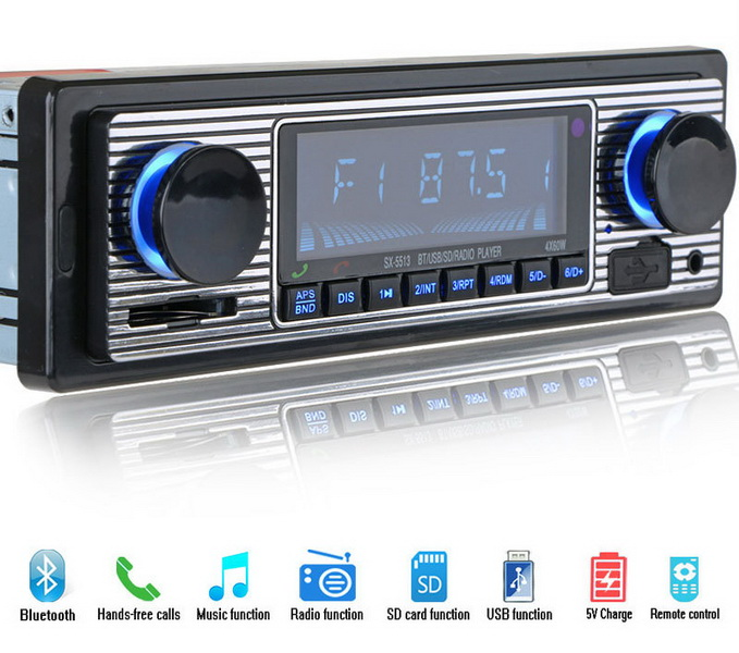 by DHL or Fedex 10pcs Bluetooth Vintage Car Radio MP3 Player Stereo USB AUX Classic Car