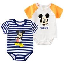 Summer Newborn Baby Rompers Cartoon Mickey Print Ba