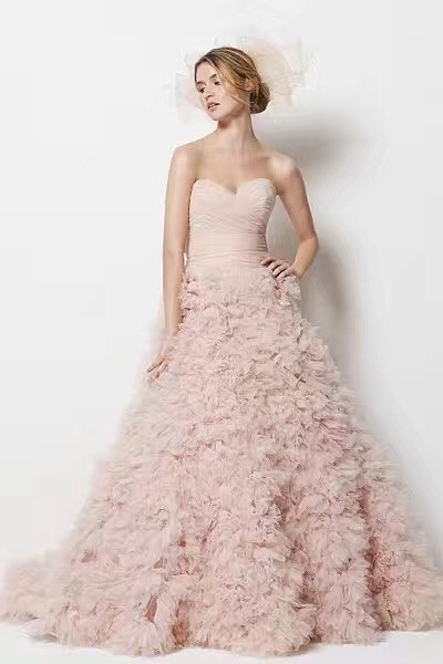 1 yard pink ruffled mesh fabric, shabby rosette 3D pleated fabric, wedding photography backdrop, haute couture bridemaid dress