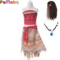 PaMaBa Girls Summer Beach Dress Up Moana Cosplay Costume 3 10T Tops And Tutu Dress Ocean