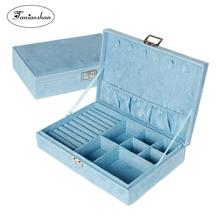 Купить с кэшбэком New Type Flannel Jewelry Box Korean Style Ring Earrings Storage Box Fashion Lovely Princess Jewelry Box   Birthday Gift For Girl