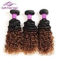 Zachte Voelen Haar Ombre Braziliaanse Haar 1 Bundel 1B/30 Kinky krullend Weave Human Hair Extensions 10-26 Inch Niet Remy Gratis verzending
