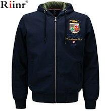Riinr Для мужчин; хлопковый свитшот куртка Для мужчин с капюшоном для спорта и отдыха Высокое качество Повседневная куртка с капюшоном воротник толстовки