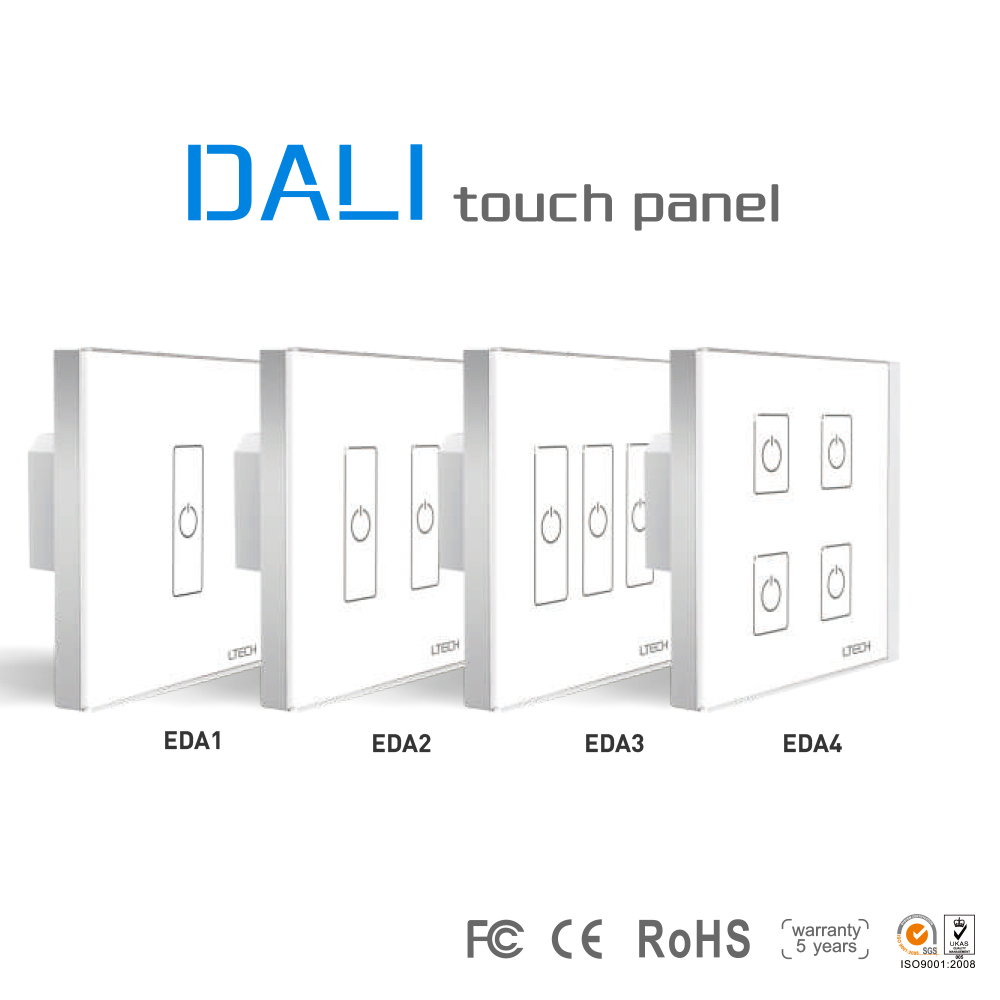Wall Mount Dali led Touch Panel Dimmer 1/2/3/4 CH Dali LED Switch Controller EDA1/EDA2/EDA3/EDA4 for led strip COB down light ltech da2 touch panel 2ch 2 channel control on off switch dimmer wall mount led controller dali series for led light ac220v