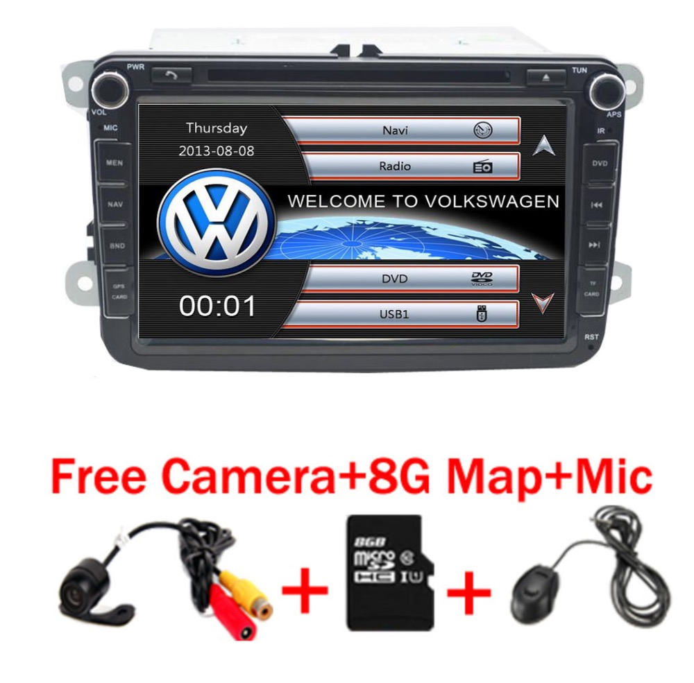 2 Din 8 Inch Car DVD Player For VW POLO PASSAT Golf Skoda Octavia SEAT LEON With 3G Radio GPS Navigation 1080P FM Free Camera funrover android 8 0 two 2 din 9 inch car dvd player stereo for vw volkswagen polo golf skoda octavia seat radio wifi usb no dvd