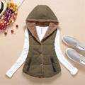 Fashion Women Autumn Winter Hooded short Cotton Coat  Waistcoats Length Jacket  Thick Warm