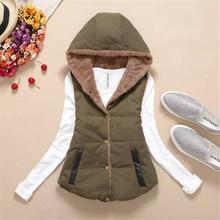 Fashion Women Autumn Winter Hooded short Cotton Coat  Waistcoats Length Jacket  Thick Warm