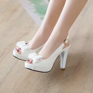 Image 2 - YMECHIC 2019 Летняя мода с бантом бабочкой с открытым носком туфли на ремешке женские белые свадебные туфли для невесты женские туфли лодочки для вечеривечерние
