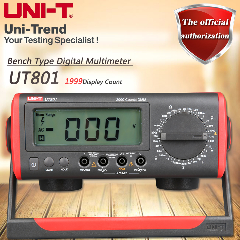 UNI-T UT801 Desktop Digital Multimeter High Precision Manual Multimeter Resistance / Capacitance / Frequency / Temperature Test victor victory multimeter vc86e 4 1 2 digit precision multimeter frequency capacitance temperature with usb