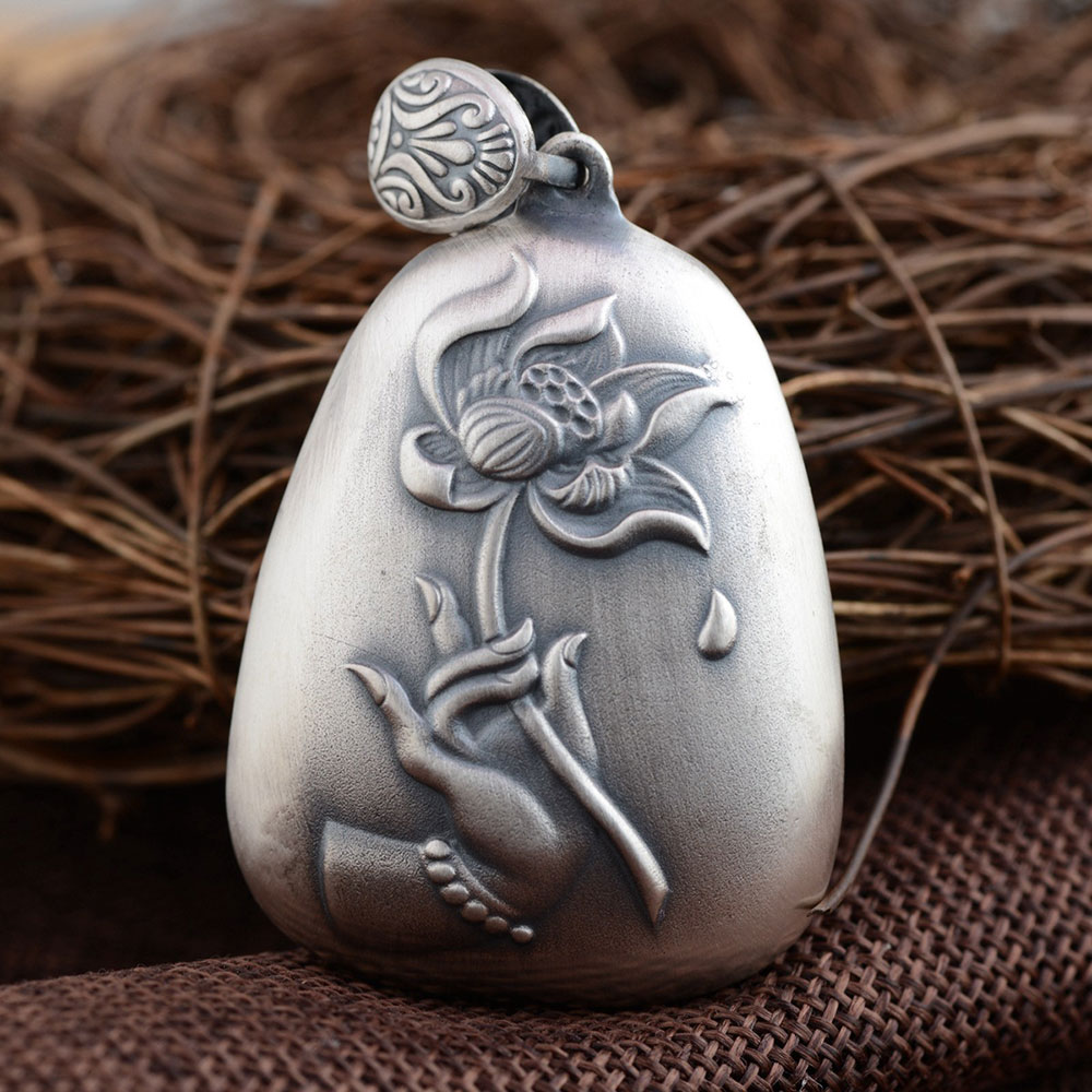 FNJ 925 Silver Lotus Flower Pendant Hand 100% Pure S925 Solid Thai Silver Pendants for Women Men Jewelry Making