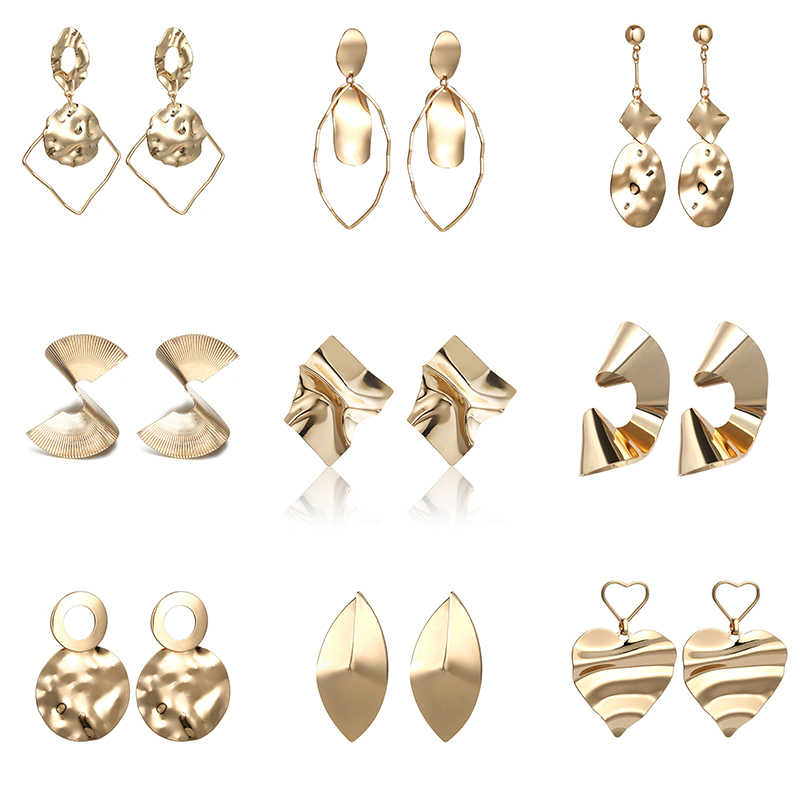 2019 New Irregular Statement Earrings Golden Silver Color Metal Fashion Ear Jewelry Wedding Party Uquie Earrings Wholesale