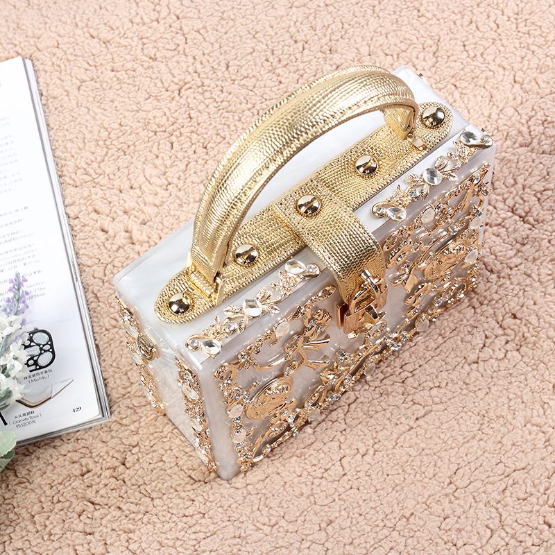 Fashion women  gold diamond relief Acrylic Ballot lock luxury handbag evening bag clutch for party purse