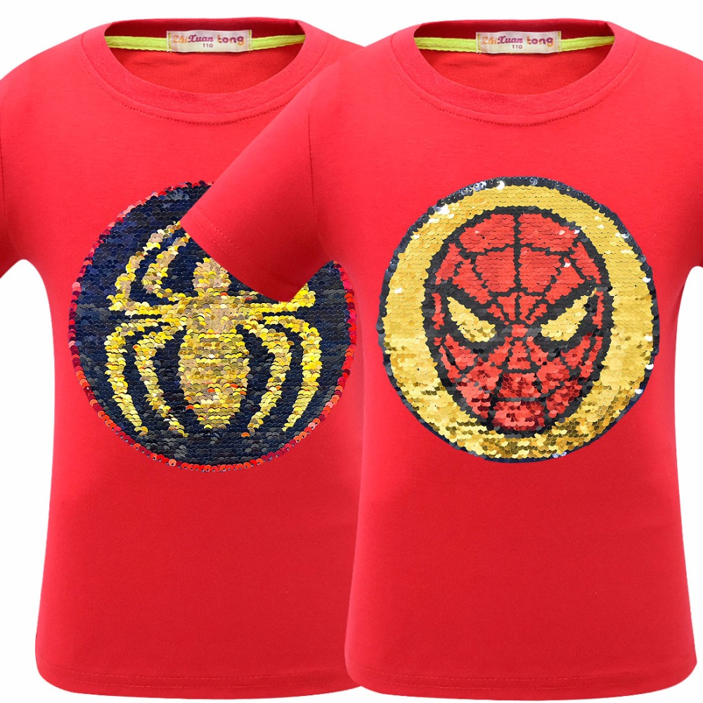 b34b68d790 Avengers 4 Endgame T Shirt Children Boy Change Color Sequins Letter ...